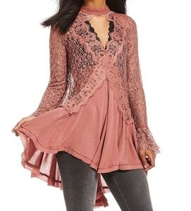 Free People Tell Tale Lace Dusty Mauve Tunic